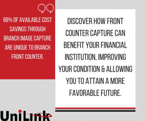 graphic on savings for front counter capture with Unilink logo